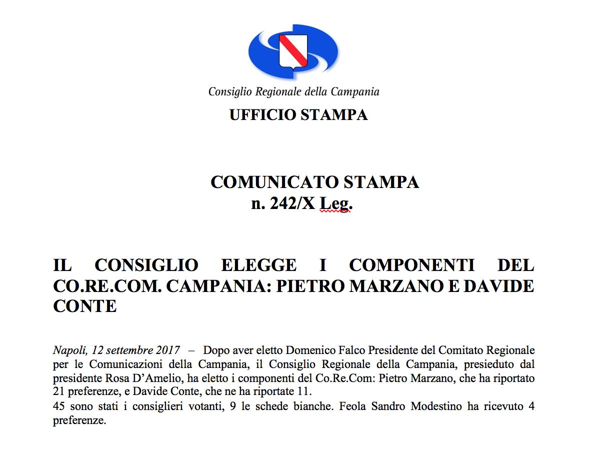 Comunicato stampa Elezione Corecom 2017