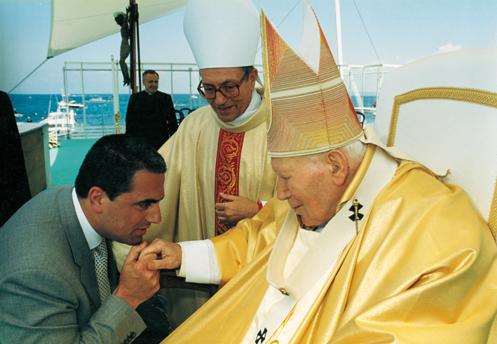 Davide, Papa Woytila e il Vescovo Strofaldi: 5 maggio 2002, Ischia